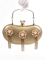 preiswerte -Damen Taschen PU Poly Urethan Abendtasche Crystal / Strass für Veranstaltung / Fest Formal Büro & Karriere Ganzjährig Schwarz Silber