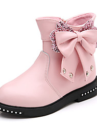 cheap -Girls' Shoes PU Winter Comfort Boots Walking Shoes Zipper for Black / Red / Pink