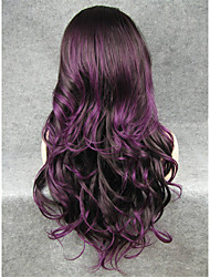 IMSTYLE 26''Fashion Purple Mix Long Wave Synthetic Wigs Lace Front For Party