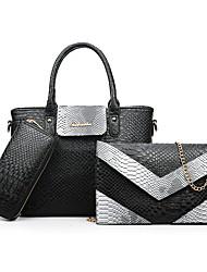 baratos -Mulheres Bolsas PU Conjuntos de saco Ziper Rosa / Cinzento / Roxo