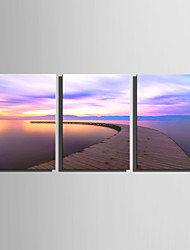 E-HOME Stretched Canvas Art Extended Lake View Decoration Painting  Set Of 3