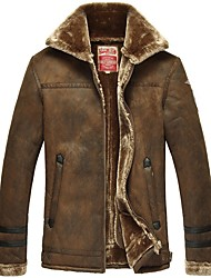 cheap -Men's Plus Size Vintage Leather Jackets,Solid V Neck Long Sleeve Fall / Winter Black / Brown Faux Fur / Lamb Fur Thick