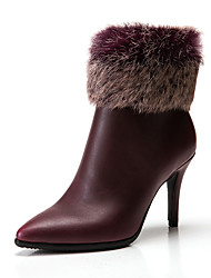 Women's Shoes Feather/ Fur Synthetic Microfiber PU Leather Spring Winter Fashion Boots Boots Stiletto Heel Pointed Toe Booties/Ankle Boots