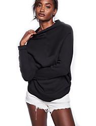 abordables -Mujer Regular Pullover Noche Casual/Diario Vintage Chic de Calle,Un Color Negro Escote Redondo Manga Larga Lana Licra Otoño Invierno Medio