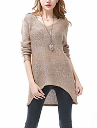 Women's Casual/Daily Holiday Sexy Street chic Long Pullover,Solid Black Brown V Neck Long Sleeve Cotton Fall Winter Medium Stretchy