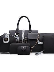 baratos -Mulheres Bolsas PU Conjuntos de saco Botões / Ziper para Escritório e Carreira Vermelho / Cinzento / Marron