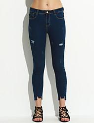 economico -Da donna Vintage Anelastico Jeans Lavoro Pantaloni,Tinta unita Cotone Poliestere Primavera