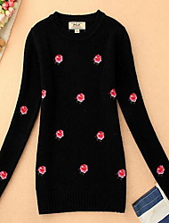 cheap -Women's Daily Casual Print Round Neck Pullover, Long Sleeves Spring Fall