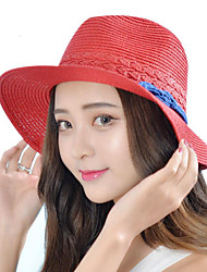 Women Vintage Casual Summer Stitching Color Dome Knot Jazz Wide Eaves Straw Hat