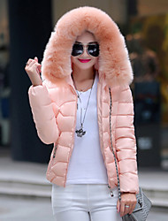 Women's Solid Blue / Pink / White / Black Parka Coat , Vintage / Casual Hooded Long Sleeve