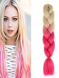 """1 pack beige ombre pesca crochet 24"""" yaki kanekalon fibra 100g 2 Tono enormi trecce di capelli sintetici"""