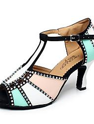 "cheap -Women's Latin Jazz Dance Sneakers Modern Leatherette Sneaker Outdoor Practice Chunky Heel Orange Red Blue 2"" - 2 3/4"" Customizable"