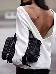 Femme Dos Nu Normal Pullover Décontracté/Quotidien Sexy simple,Couleur Pleine Blanc Col en V Manches Longues Acrylique Automne Hiver Moyen