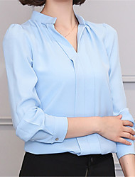 cheap -Women's Work Puff Sleeve Polyester Shirt - Solid V Neck