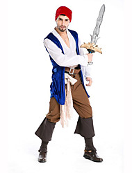 cheap -Pirate Male Christmas Halloween Carnival Children's Day New Year Oktoberfest Festival / Holiday Halloween Costumes White+Blue Print