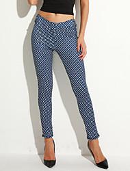 Mulheres Activo Cintura Média Micro-Elástica Justas/Skinny Jeans Calças, Poliéster Todas as Estações