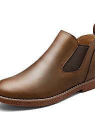 baratos -Homens sapatos Courino Inverno Outono Coturnos Botas Botas Cano Médio Elástico para Casual Escritório e Carreira Festas & Noite Preto
