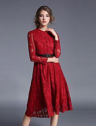 Lace Robe Femme Décontracté / Quotidien Chic de Rue,Couleur Pleine Mao Midi Manches Longues Rouge Coton Automne Taille Haute