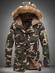 Men's Long Padded Coat,Simple Casual/Daily Camouflage-Cotton Polyester Long Sleeves Hooded
