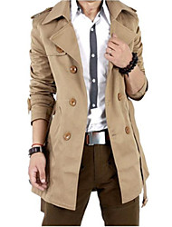 cheap -Men's Office / Career Dailywear School Date Classic & Timeless Elegant & Luxurious Fall Long Blazer, Solid Color Peter Pan Collar N/A