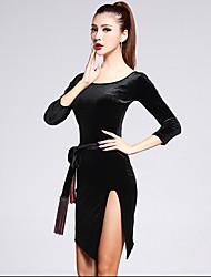 Latin Dance Outfits Women's Performance Polyester Appliques Tassel(s) 3 Pieces 3/4 Length Sleeve High Dress Waist Belt Shorts
