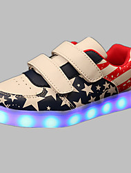 Boy's Sneakers Spring Summer Fall Winter Comfort Light Up Shoes PU Outdoor Casual Athletic Flat Heel Buckle LED Blue Pink Red