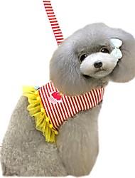 baratos -Gato Cachorro Arreios Trelas Macio Segurança Colete Casual Riscas Laço Strass Tecido Vermelho Azul