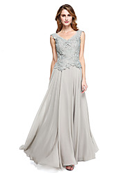 cheap -A-Line V Neck Floor Length Chiffon Lace Mother of the Bride Dress with Lace by LAN TING BRIDE®
