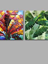 Pintados à mão Abstracto / Floral/Botânico Pinturas a óleo,Modern / Clássico 2 Painéis Tela Hang-painted pintura a óleo For Decoração