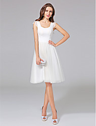cheap -A-Line Scoop Neck Knee Length Cotton Tulle Wedding Dress with Lace by LAN TING BRIDE®