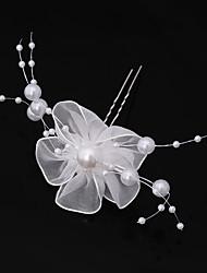 cheap -Chiffon Imitation Pearl Lace Flowers Hair Pin Hair Stick Headpiece
