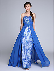 cheap -Sheath / Column Strapless Sweep / Brush Train Chiffon Lace Prom Formal Evening Dress with Beading by TS Couture®