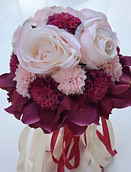 "Wedding Flowers Round Roses Lilies Peonies Bouquets Wedding Party/ Evening Satin 9.84""(Approx.25cm)"