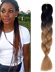 "1 Pack Black Ombre Light Brown Crochet 24"" Yaki Kanekalon Fiber 100g 2 Tone Jumbo Braids Synthetic Hair"