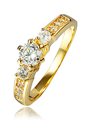 cheap -Women's AAA Cubic Zirconia Gold Plated 18K Gold Ring - Gold Ring For Wedding Party Daily Casual