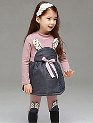 cheap -Girls' Daily Sports School Print Clothing Set,Cotton Winter Long Sleeve Cartoon Beige Pink