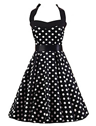 Women's Going out Vintage / Cute A Line / Black and White / Skater Dress,Polka Dot Halter Knee-length Sleeveless Black Cotton SummerHigh