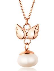 doce pérola inlay anjo de asa aço inoxidável 316L pingente de colar