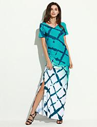 Women's Party Sexy Bodycon Dress,Print V Neck Maxi Sleeveless Blue Acrylic Summer