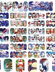 cheap -12 Designs XMAS Nail Art Water Transfer Sticker Full Cover Decals Merry Christmas Snowman Stickers Wrap Tip Decoration A1141-1152