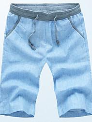 Men's Mid Rise Micro-elastic Shorts Pants,Simple Loose Solid