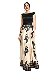 cheap -Sheath / Column Boat Neck / Bateau Neck Floor Length Lace Over Satin Color Block Prom / Formal Evening Dress with Appliques / Sash / Ribbon by TS Couture®