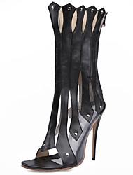 Недорогие -Черный Белый-Женский-Для прогулок Для праздника Повседневный Для вечеринки / ужина-Кожа-На шпильке-Удобная обувь клуб Обувь Light Up обувь