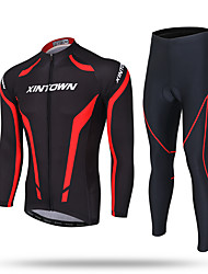 cheap -XINTOWN Cycling Jersey with Tights Men's Long Sleeves Bike Pants / Trousers Tracksuit Zip Top Fleece Jacket Jersey Top Clothing Suits
