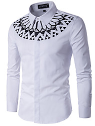 cheap -Men's Cotton Slim Shirt - Geometric Standing Collar / Long Sleeve