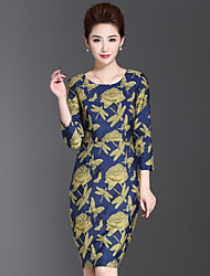 1898 Women's Plus Size / Casual/Daily Chinoiserie Sheath DressJacquard Round Neck Above Knee Long Sleeve Blue Polyester Fall Mid Rise