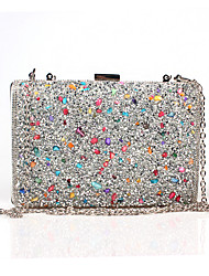 cheap -Women's Bags Poly urethane / PU Evening Bag Crystal / Rhinestone / Acrylic Jewels Black / Silver / Golden
