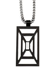 carré en acier inoxydable 316L pendentif creux collier de bijoux de mode masculine