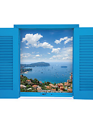 cheap -Scenery Wall Stickers Blue Sky Stickers Sea Building Decals Home Decor