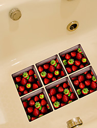 Strawberrys 3D Bathroom Non-Slip Stickers The Floor Tile Individuality Decorative Stickers